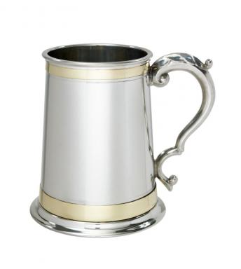 1 pint Heavy Double Brass Band Monarch Pewter Tankard