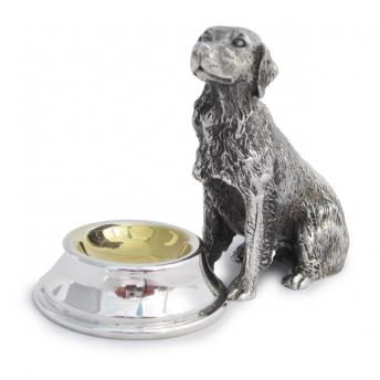 Dog with Bowl -Silver Plated