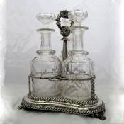 Old Sheffield Plate Decanter Stand with Cut Glass Bottles