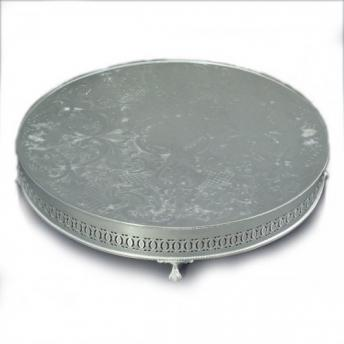 wedding cake stand round silver plated intricately patterned round