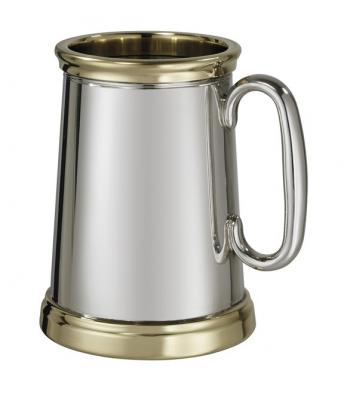 Extra Heavy Pewter and Brass  1 Pint Tankard